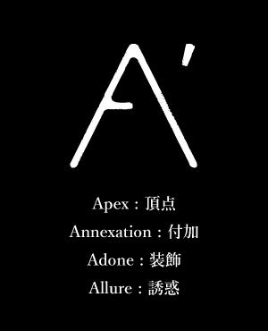 A' Apex : 頂点 Annexation : 付加 Adone : 装飾 Allure : 誘惑